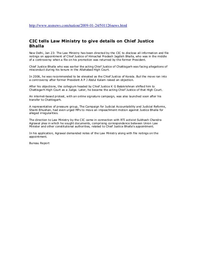 Cic tells law ministry to give details on chief justice bhalla