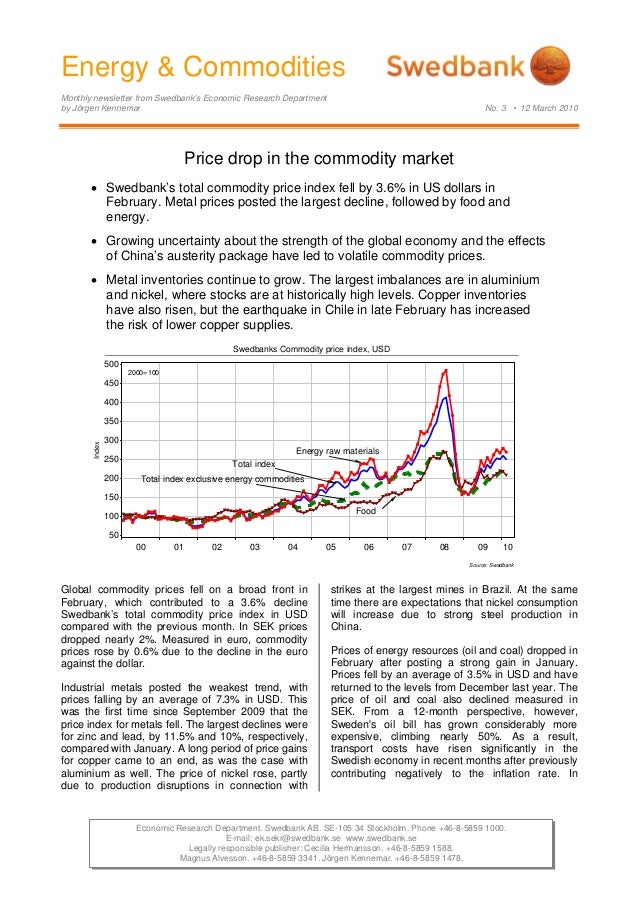 Energy & Commodities Monthly newsletter from Swedbank's Economic Research Department by Jörgen Kennemar No. 3 • 12 March 2...