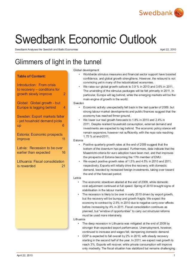 Swedbank Economic Outlook, 2010, April 22