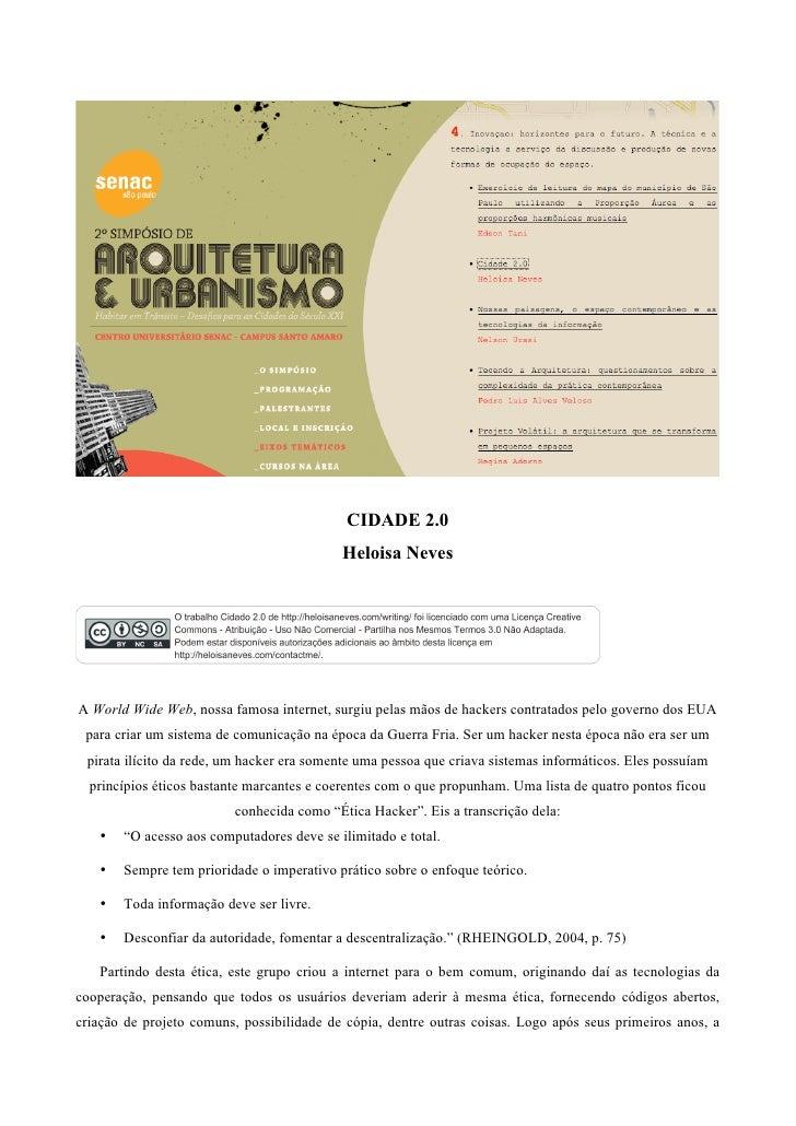 (2010) Cidade 2.0 - paper published at II Simpósio de Arquitetura e Urbanismo do Senac SP