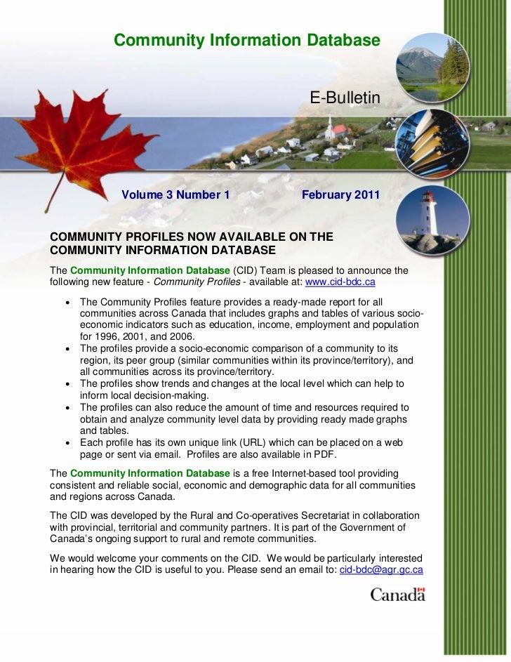 Community Information Database                                                           E-Bulletin                Volume ...