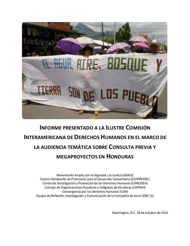 Cidh. Informe Final Consulta Previa y Megaproyectos en Honduras