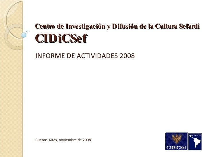 CiDiCSef Informe Actividades 2008