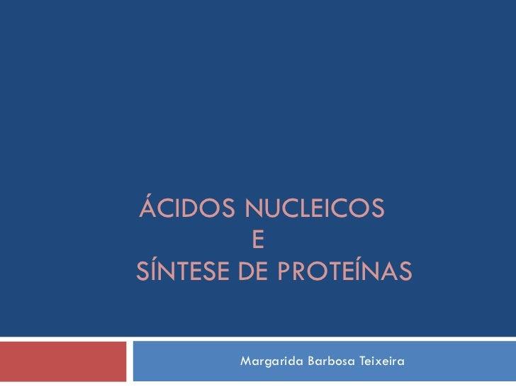 Margarida Barbosa Teixeira ÁCIDOS NUCLEICOS  E  SÍNTESE DE PROTEÍNAS