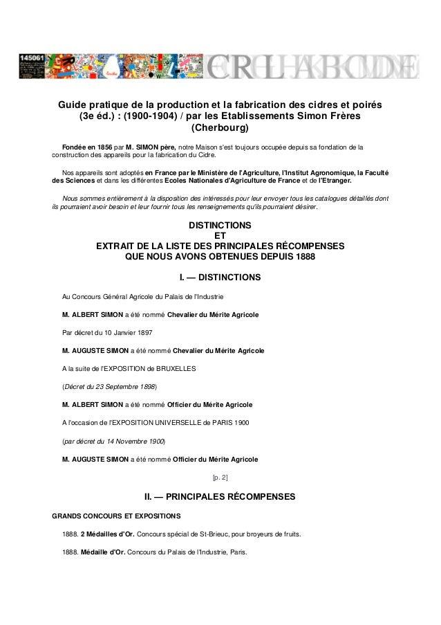 Guide pratique de la production et la fabrication des cidres et poirés      (3e éd.) : (1900-1904) / par les Etablissement...