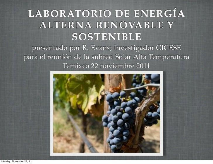 Laboratorio de energia alterna renovable y sostenible de CICESE