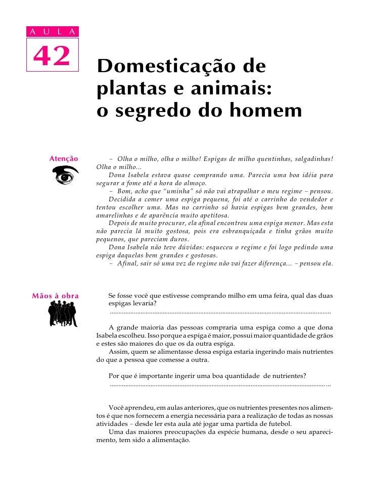 A UA U L A      L A      42 42            Domesticação de               plantas e animais:               o segredo do home...