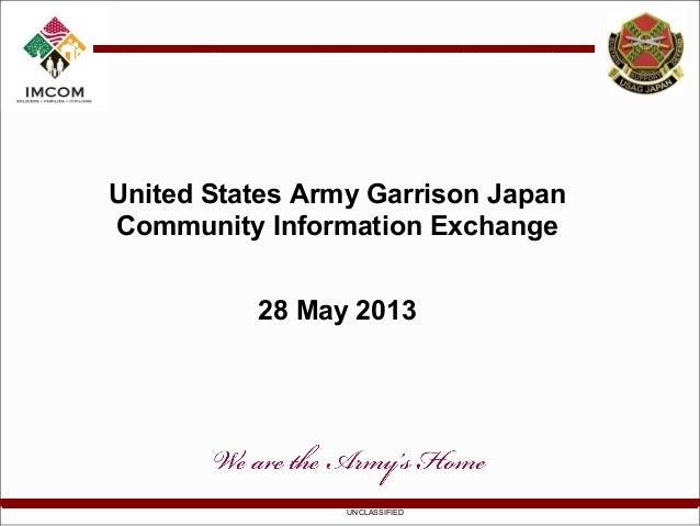 UNCLASSIFIEDUnited States Army Garrison JapanCommunity Information Exchange28 May 2013