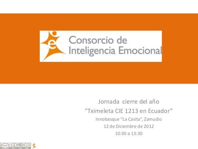 """Jornada cierre del año""""Tximeleta CIE 1213 en Ecuador""""   Innobasque """"La Casita"""", Zamudio       12 de Diciembre de 2012     ..."""