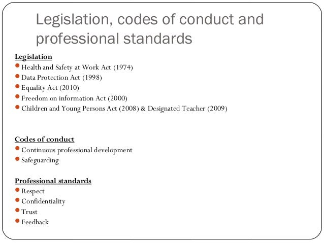 identify the current legislation and codes of practice relevant to the promotion of equality and val Equal opportunities code of practice for equality • standards laid down in relevant legislation and codes of practice are promotion and personal.
