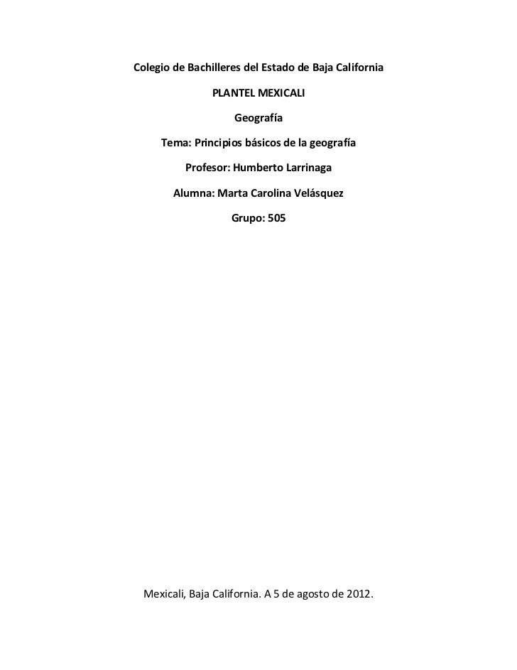 Colegio de Bachilleres del Estado de Baja California                PLANTEL MEXICALI                     Geografía     Tem...