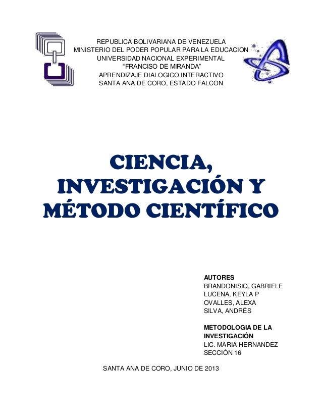 Ciencia metodo cientifico e investigacion cientifica
