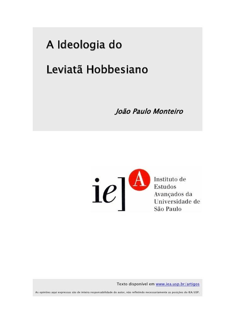 A Ideologia do        Leviatã Hobbesiano                                                            João Paulo Monteiro   ...