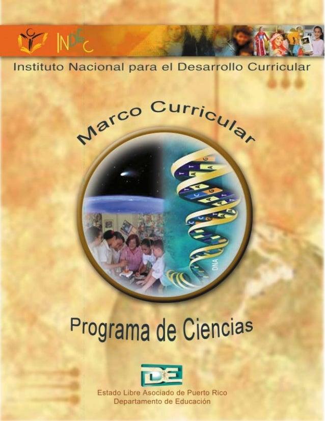 Marco curricular programa de ciencias for Programa curricular de educacion inicial