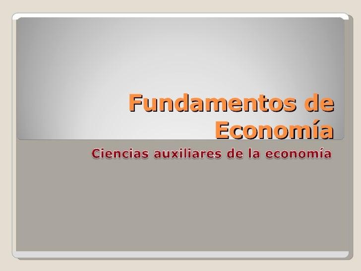 Ciencias Auxiliares De La EconomíA