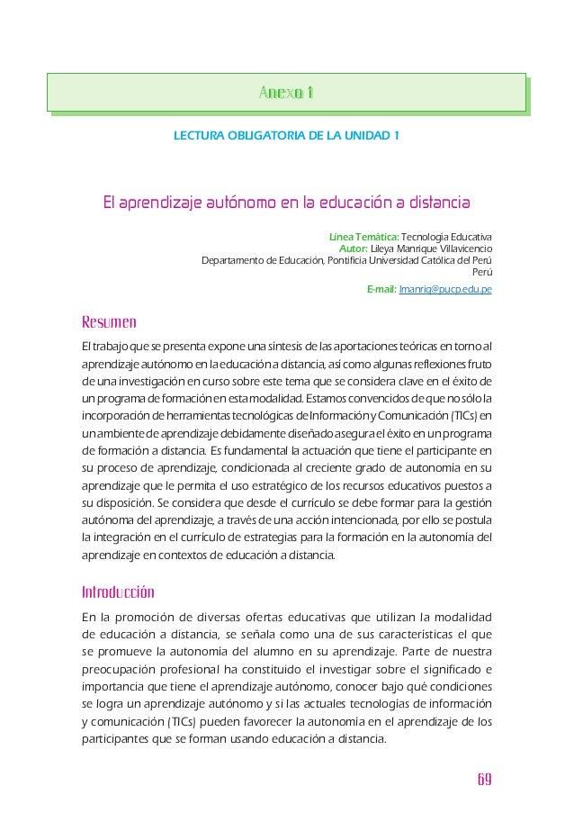 69 LECTURA OBLIGATORIA DE LA UNIDAD 1 Línea Temática: Tecnología Educativa Autor: Lileya Manrique Villavicencio Departamen...