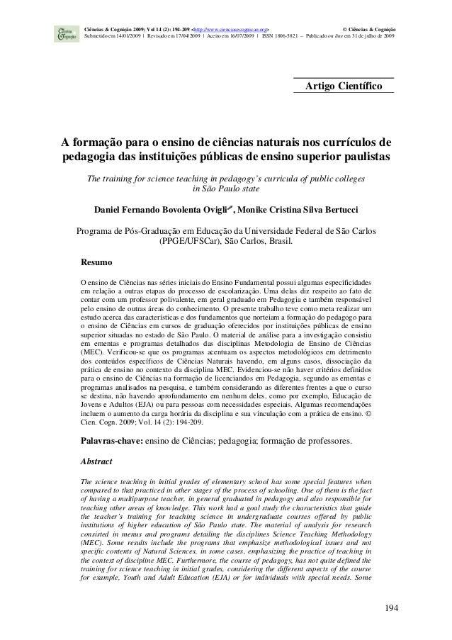 194 A formação para o ensino de ciências naturais nos currículos de pedagogia das instituições públicas de ensino superior...