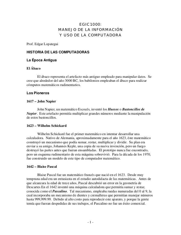 EGIC 1000:                       MANEJO DE LA INFORMACIÓN                       Y USO DE LA COMPUTADORAProf. Edgar Lopateg...