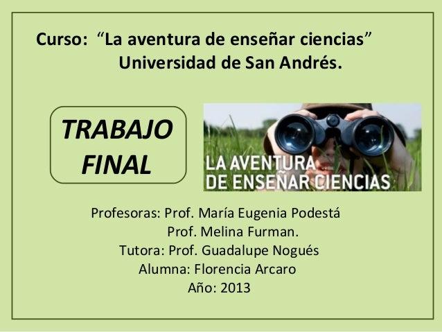 """Curso: """"La aventura de enseñar ciencias"""" Universidad de San Andrés.  TRABAJO FINAL Profesoras:Prof.MaríaEugeniaPodest..."""