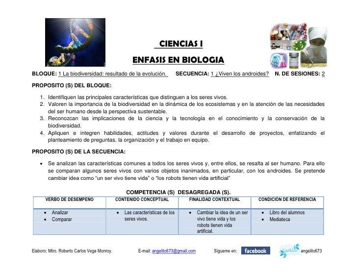 CIENCIAS I                                                      ENFASIS EN BIOLOGIA BLOQUE: 1 La biodiversidad: resultado ...