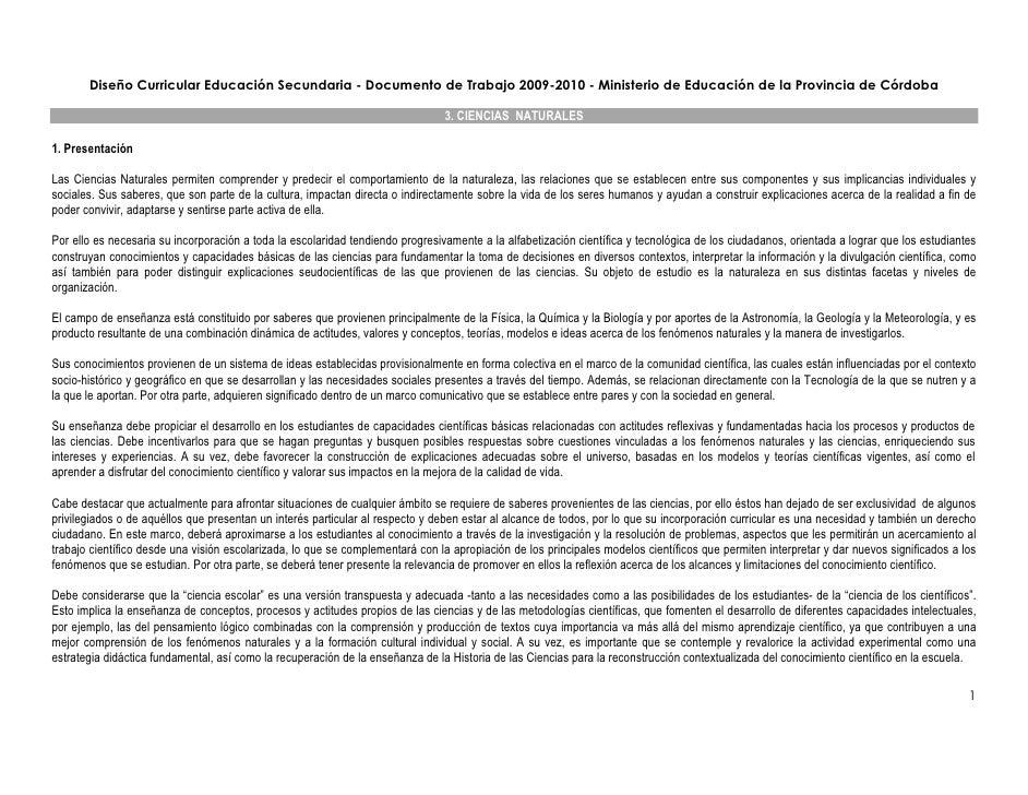 Diseño Curricular Educación Secundaria - Documento de Trabajo 2009-2010 - Ministerio de Educación de la Provincia de Córdo...