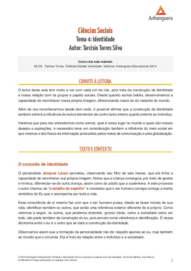 1 © 2014 Anhanguera Educacional. Proibida a reprodução final ou parcial por qualquer meio de impressão, em forma idêntica,...