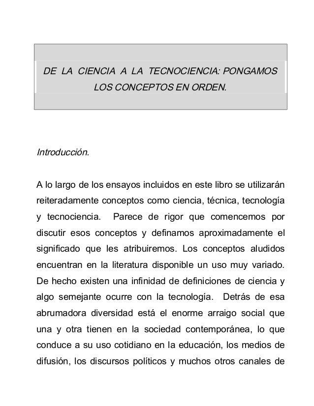 Ciencia, tecnologia y técnica
