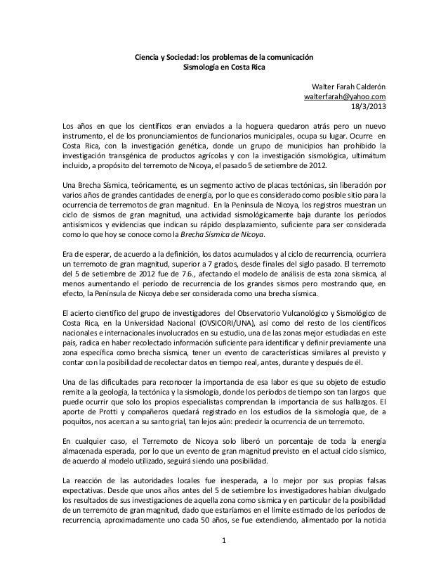 Ciencia y Sociedad: los problemas de la comunicación                                     Sismología en Costa Rica         ...