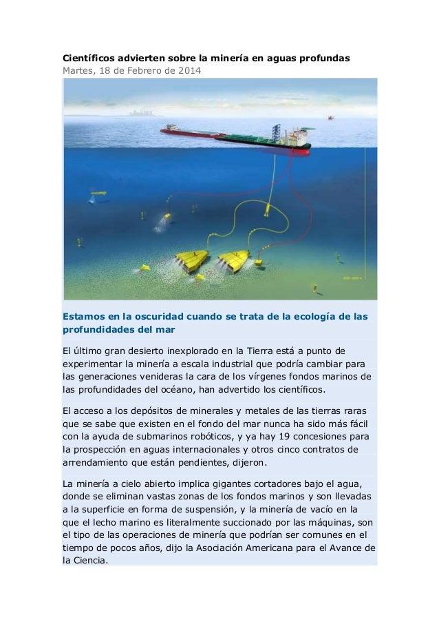 Científicos advierten sobre la minería en aguas profundas