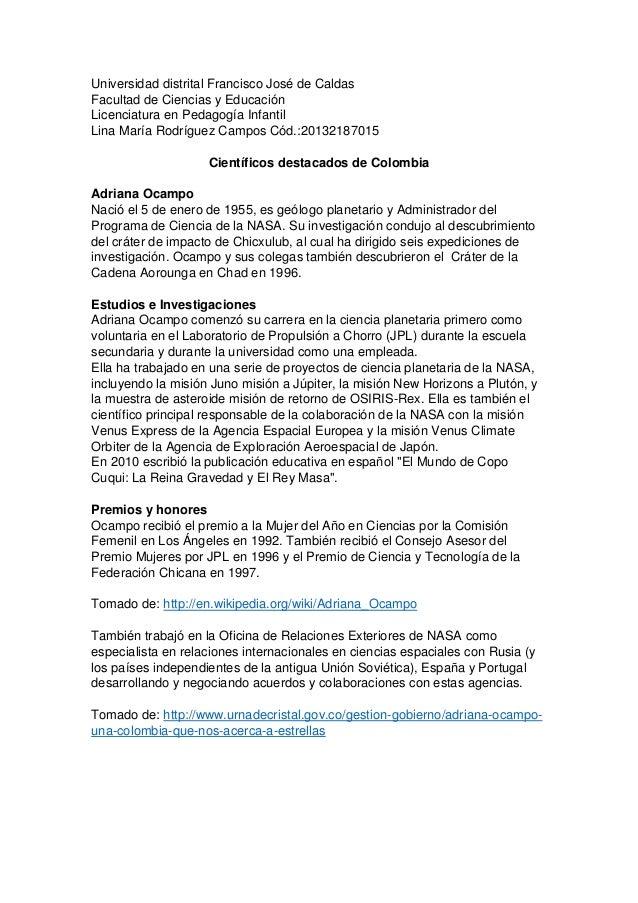 Universidad distrital Francisco José de Caldas Facultad de Ciencias y Educación Licenciatura en Pedagogía Infantil Lina Ma...
