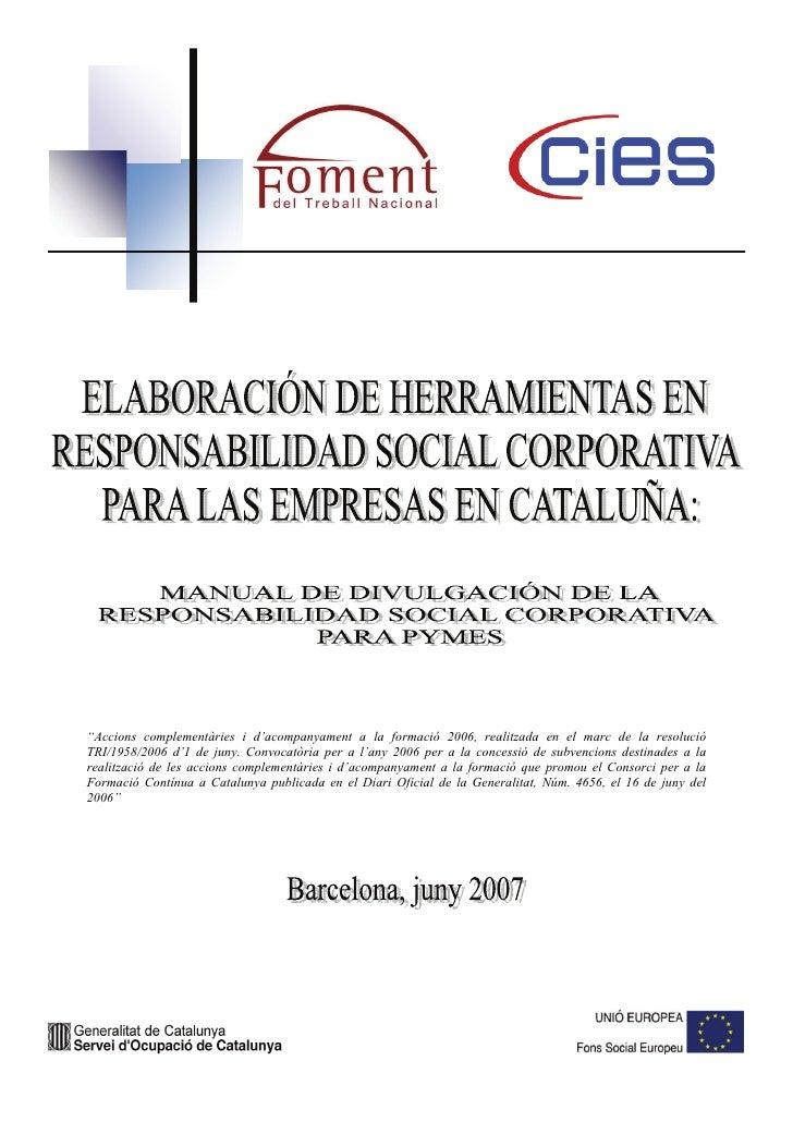 CIES, Manual de divulgación de la responsabilidad social corporativa para Pymes