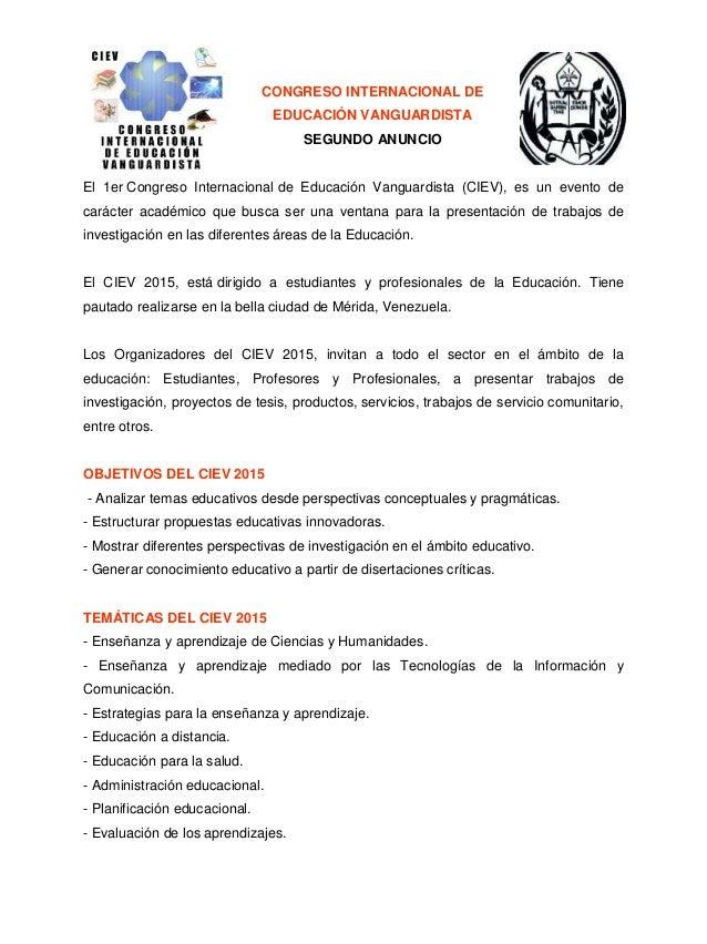 CONGRESO INTERNACIONAL DE EDUCACIÓN VANGUARDISTA SEGUNDO ANUNCIO El 1er Congreso Internacional de Educación Vanguardista (...