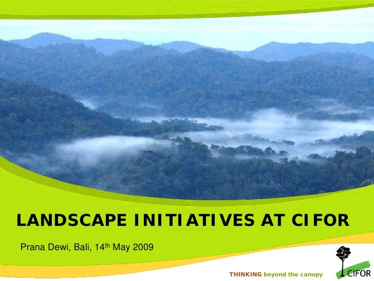 LANDSCAPE INITIATIVES AT CIFOR Prana Dewi, Bali, 14th May 2009                                      THINKING beyond the ca...