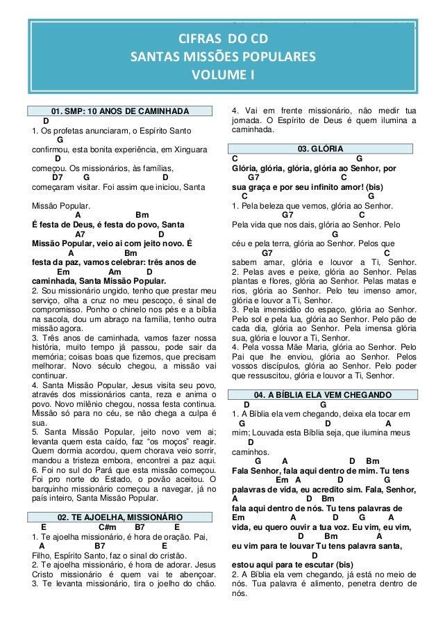 Letra e Cifras dos cânticos das Santas Missões
