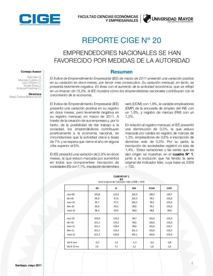 REPORTE CIGE Nº 20                                   EMPRENDEDORES NACIONALES SE HAN                                FAVORE...