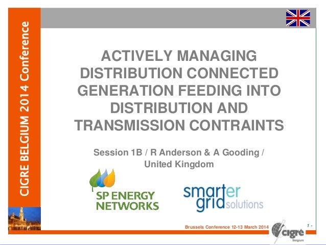 CIGRE Belgium presentation on Actively Managing Distribution Connected Generation