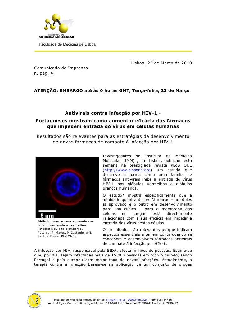 Faculdade de Medicina de Lisboa                                                                    Lisboa, 22 de Março de ...
