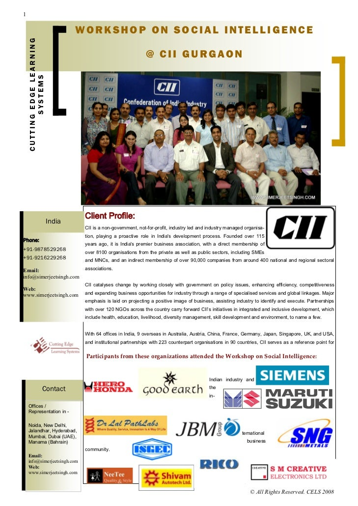 CII Corporate Training Workshop on Social Intelligence  by Motivational Speaker in India and Corporate Trainer in New Delhi Simerjeet Singh