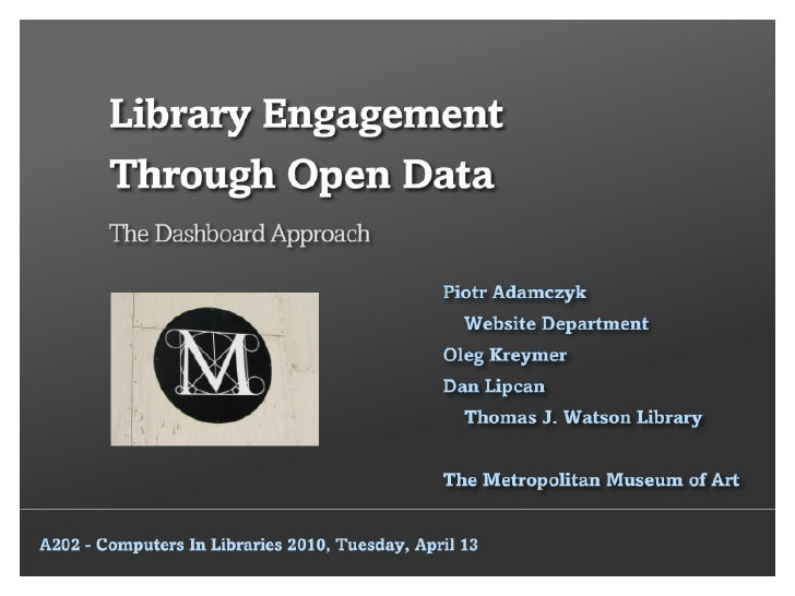 Library Engagement Through Open Data: The Dashboard Approach