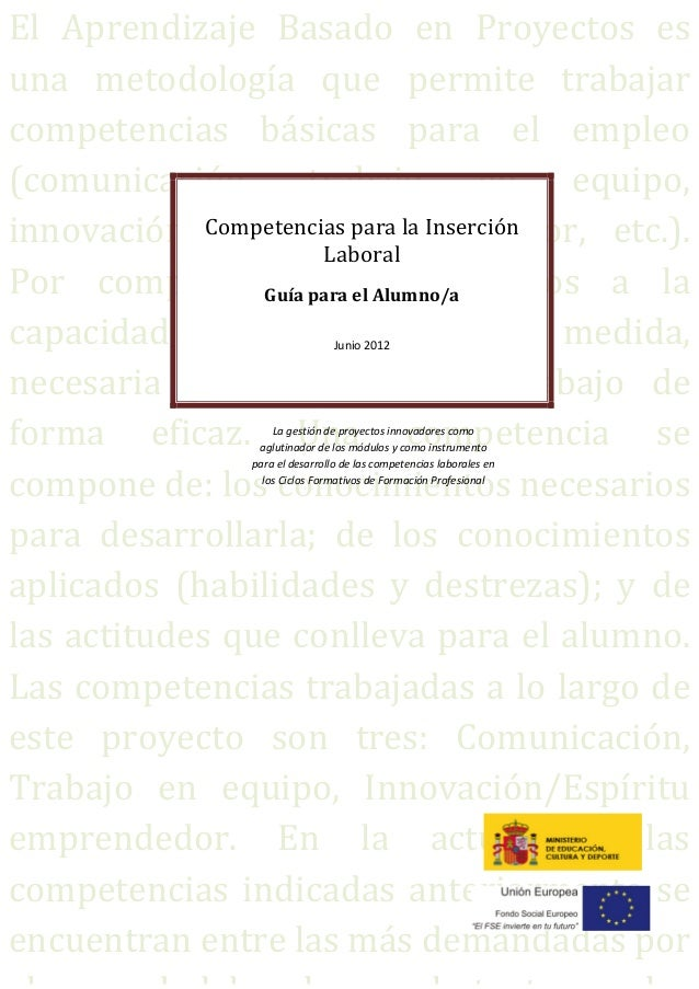 Competencias para la Inserción Laboral: ABP y  FP. Guía para el alumno