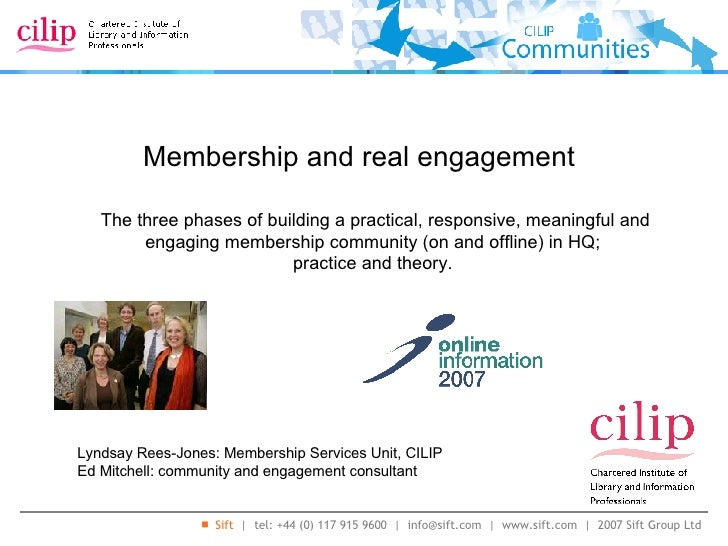 Membership and real engagement Lyndsay Rees-Jones: Membership Services Unit, CILIP Ed Mitchell: community and engagement c...