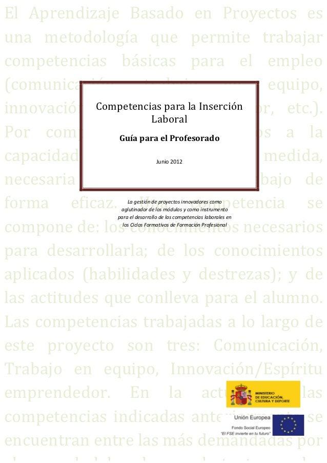 Competencias para la Inserción Laboral: ABP y FP. Guía para el profesorado