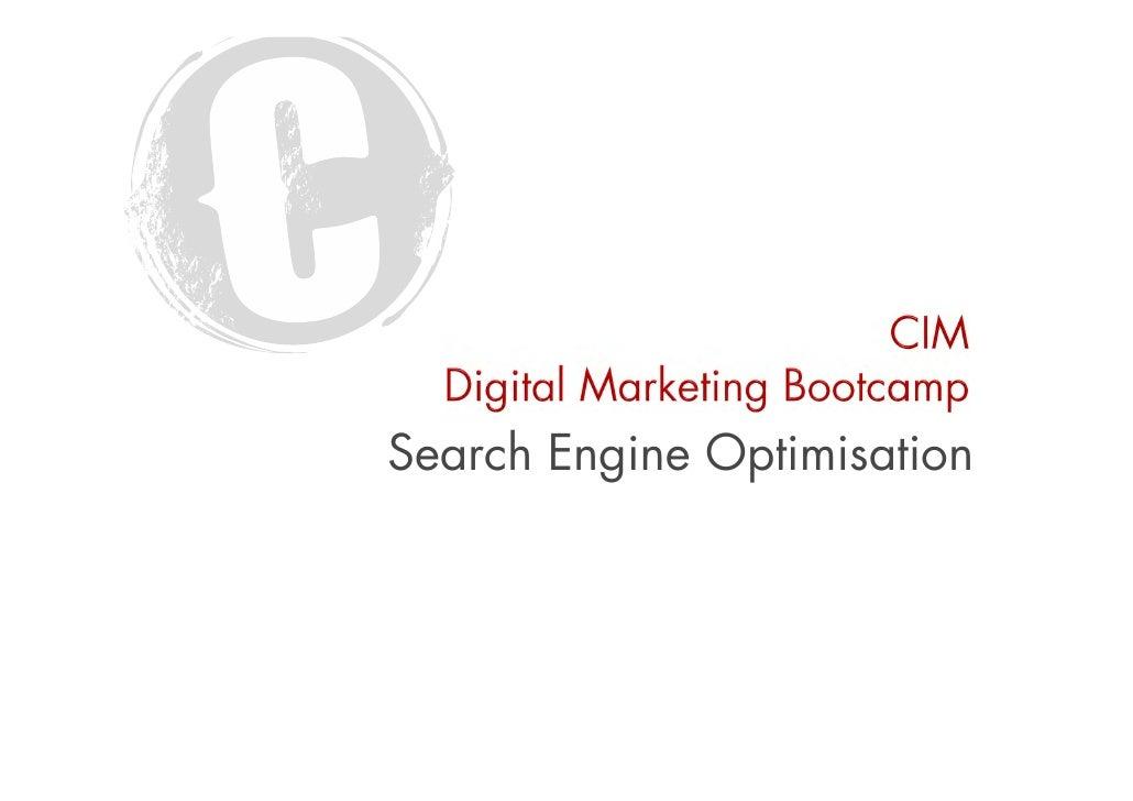 SEO Ian Miller CIM Digital Bootcamp April 2012