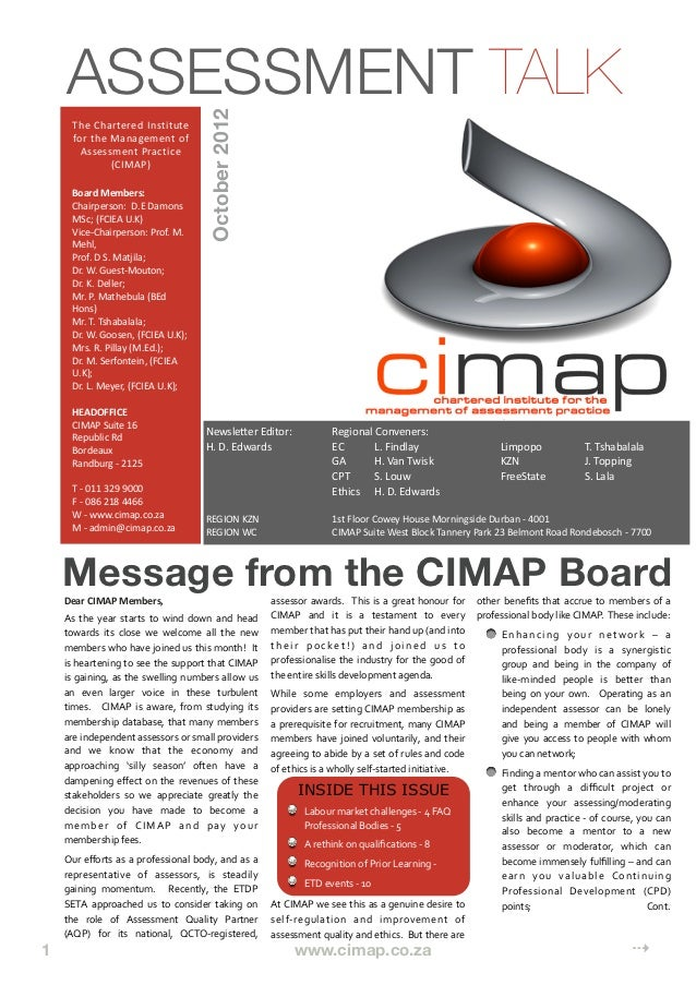 CIMAP October 2012 Newsletter