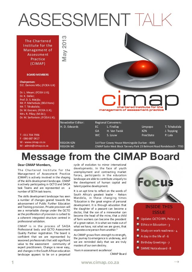 1      www.cimap.co.za     ⇢Message from the CIMAP BoardDear	  CIMAP	  Members,The	   Chartered	   Institute	   for	   the...