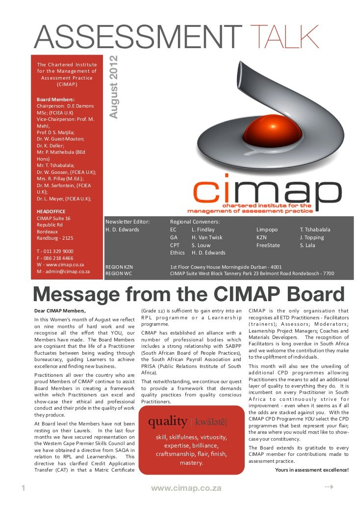 Cimap Assessment Talk - Issue 6 - August 2012