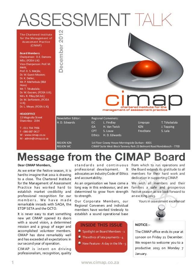 Cimap talk issue 8 - December 2012