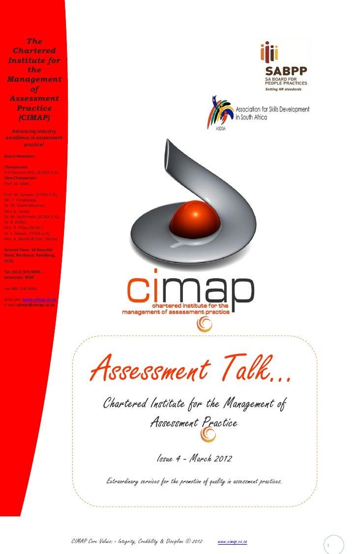 CIMAP Assessment Talk March2012