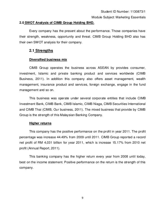 group assignment ismt cimb bank A case study of the local bank merger: is the acquiring entity better off cimb group and southern bank, being the target bank is the nation's.