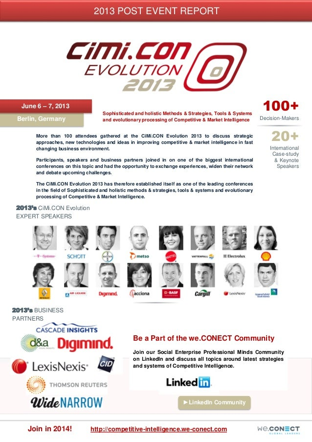 Post Event Report of the CiMi.CON Evolution 2013 conference in Berlin